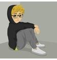 teenager nerd boy desperate sitting on floor vector image vector image
