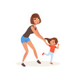 tired mother and her daughter who wants to play vector image vector image
