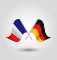 Two crossed french and german flags vector image
