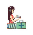 woman player video game and set icons vector image