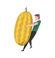 young man carrying big ripe melon male farmer vector image