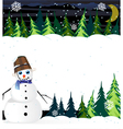 Night winter woodland scene with cute snowman vector image