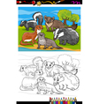 mustelids animals cartoon coloring book vector image
