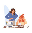 angry boss stand over tired employee table vector image