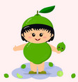 baby in a lime costume vector image vector image