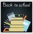 back to school background black desk with school vector image vector image