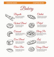 bakery cooking book page with bread vector image vector image