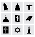 black religion icons set vector image vector image