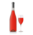 bottle and glass with rose wine vector image vector image