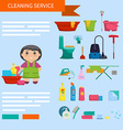Cartoon girl with a set of objects for cleaning vector image