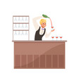 cheerful bartender at the bar counter pouring vector image vector image