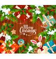 christmas winter holidays greeting card vector image