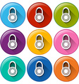 Circle buttons with padlocks vector image