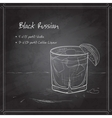 Cocktail Black russian on black board vector image vector image