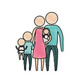 color crayon silhouette of pictogram big family vector image vector image