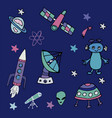 colorful hand drawn set of space objects vector image