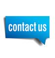 Contact us blue 3d realistic paper speech bubble vector image vector image