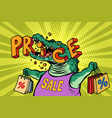 discount prices sale green crocodile character vector image