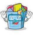 diving laundry basket character cartoon vector image vector image