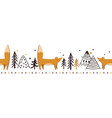 doodle winter red fox seamless horizontal vector image