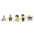 flat character office workers stay home concept vector image vector image