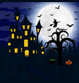 forest at night on halloween vector image vector image