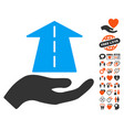 future care hand icon with lovely bonus vector image vector image