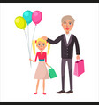 grandfather and granddaughter celebrate holiday vector image