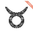 hand drawn black ornate horoscope symbol - taurus vector image