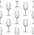 hand drawn engraved wineglass seamless pattern vector image vector image