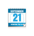 international day of peace wall calendar vector image vector image