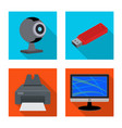 isolated object of laptop and device sign set of vector image