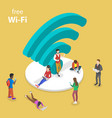 isometric flat concept free wifi vector image vector image