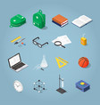 isometric school icon set vector image vector image