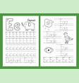 letter e tracing practice worksheet set learning vector image vector image