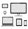 modern technology devices with transparent vector image