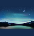 mountain lake with dark turquoise starry sky and a vector image vector image