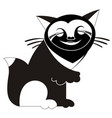 original smiling cat black on white vector image