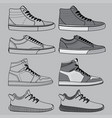 outline of shoes set vector image