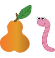 pear and worm vector image vector image