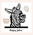 peeking happy zebra - funny zebra out vector image vector image