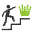 person steps to crown halftone icon vector image