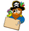 pirate with parrot holding table vector image