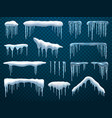 realistic snow caps hanging roicicles vector image