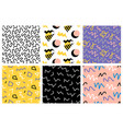 retro memphis seamless patterns set vector image vector image