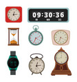 set colorful clock in flat style vector image vector image
