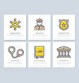 set of crime law police and justice vector image