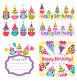 set of owls and birthday party elements vector image
