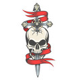 skull pierced by sword colorful tattoo vector image vector image