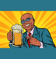 smiling man with a mug of beer foam african vector image